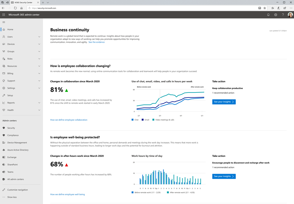 Home page of business continuity report