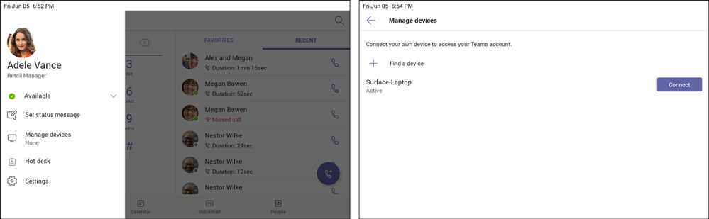 1. Go to Manage devices on your Teams phone (left).  2.Click Find a device and Connect to setup with your nearby Teams Windows Desktop client (right).