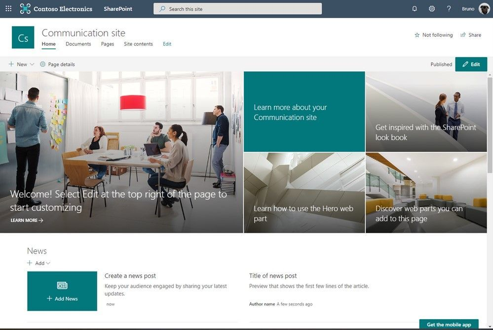 SharePoint communication site with the new Teal site theme.