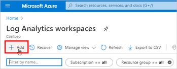 Adding a Log Analytics workspace