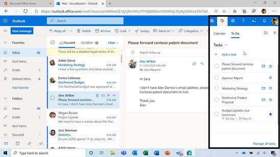 Quick access to To Do tasks is live for Outlook Web users