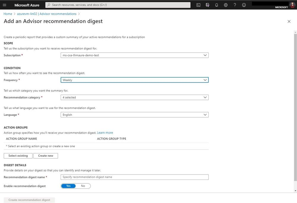 Azure Advisor recommendation digest