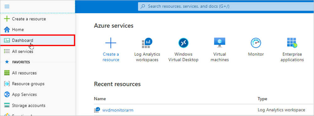 Selecting the Dashboard to prepare for personalizing it with resource tiles
