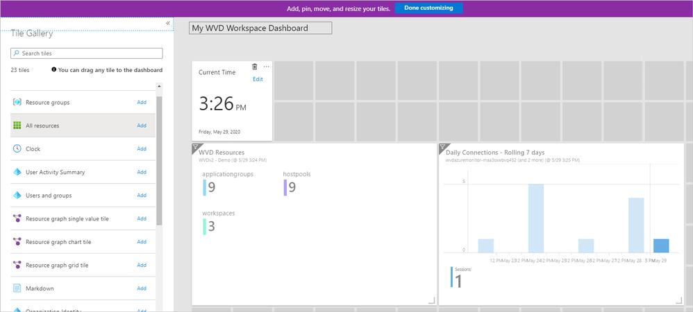 Arranging resource tiles on the Windows Virtual Desktop Workspace Dashboard