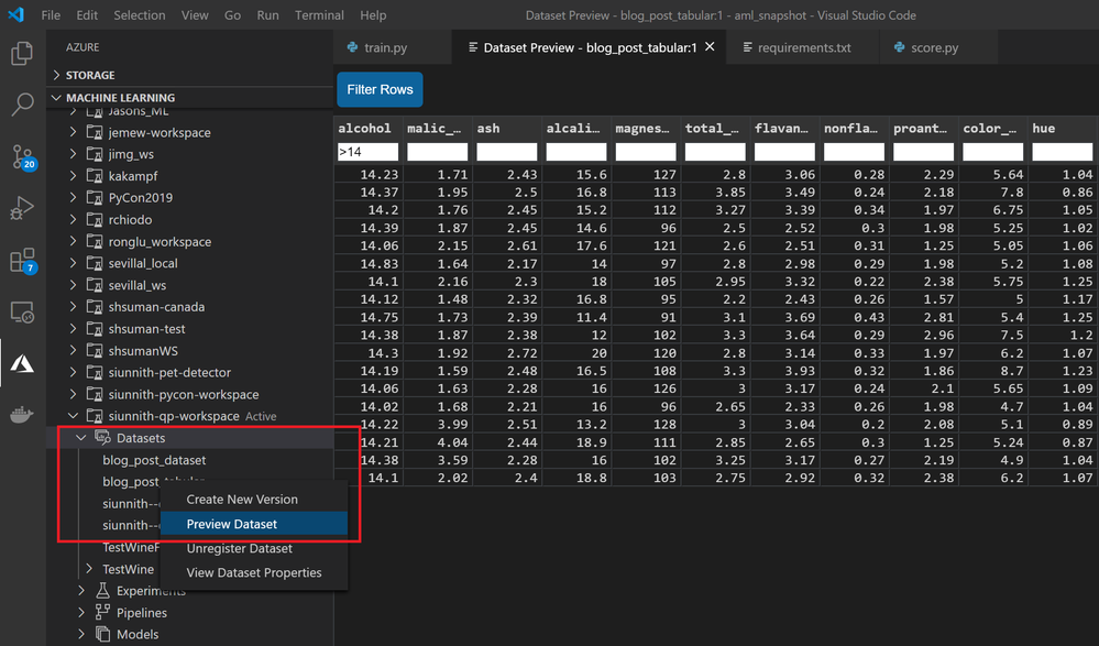 Preview tabular dataset and filter rows.
