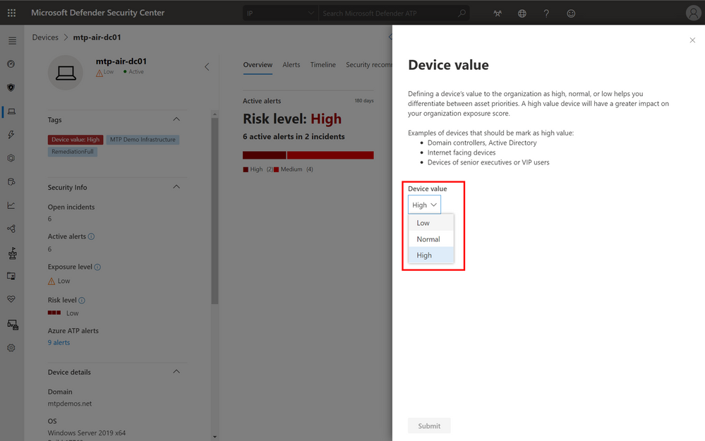 Options to set the device value.
