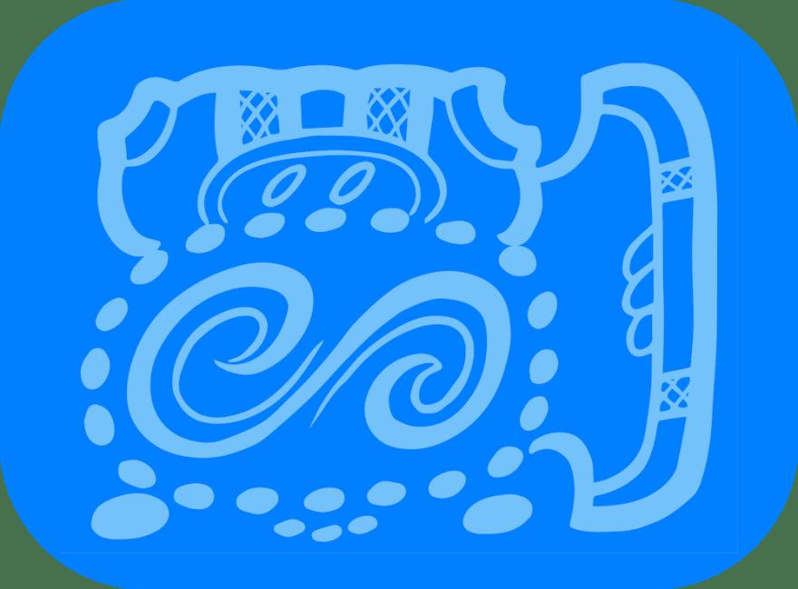 The blue glyph
