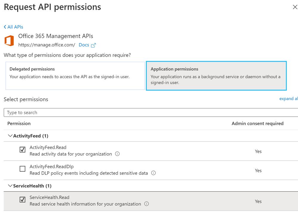Figure 4: Configuration of API permissions