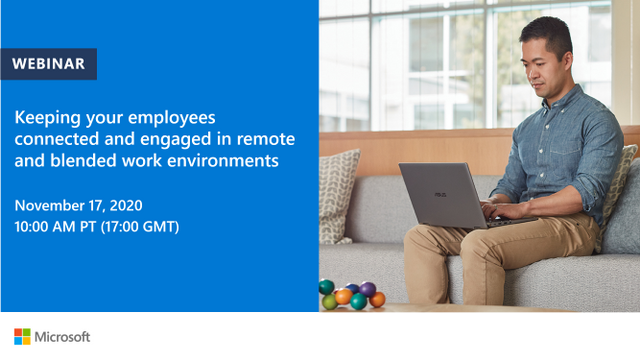 Webinar, November 17th: Keep employees connected and engaged in remote and blended work environments