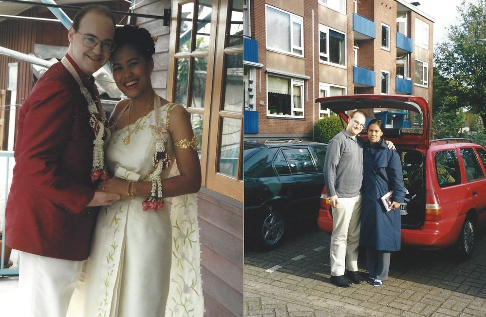Pictures show Thai wedding day and the first day my wife arrived in the Netherlands