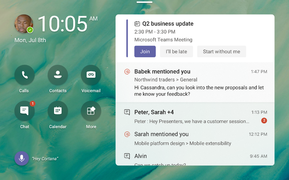 Microsoft Teams displays can be personalized to include wallpapers and highlight important activities and notifications.