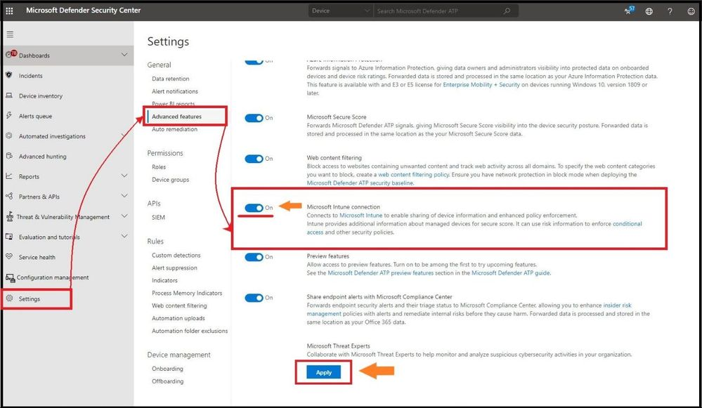 """Turning on """"Intune"""" in Microsoft Defender for Endpoint"""
