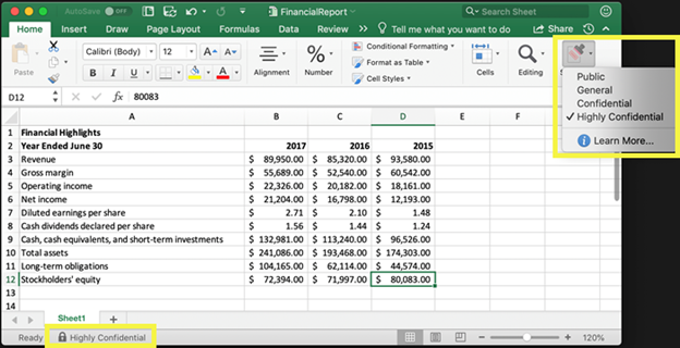 Figure 5: Sensitivity label in Microsoft 365 Apps - Excel