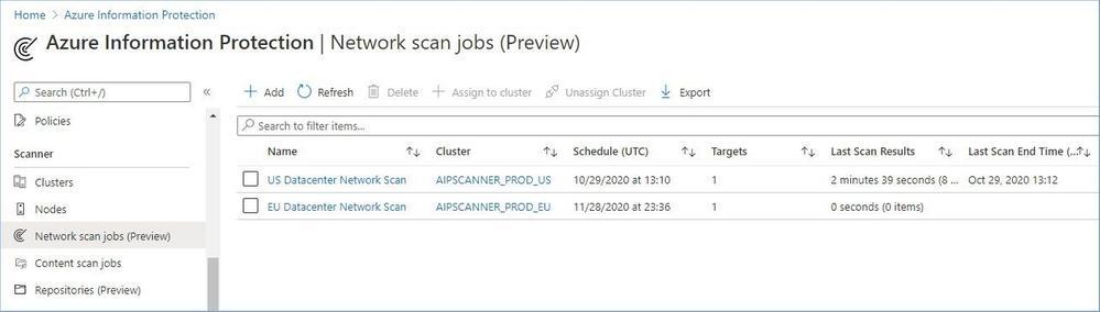 Figure 16: Network scan jobs dashboard.