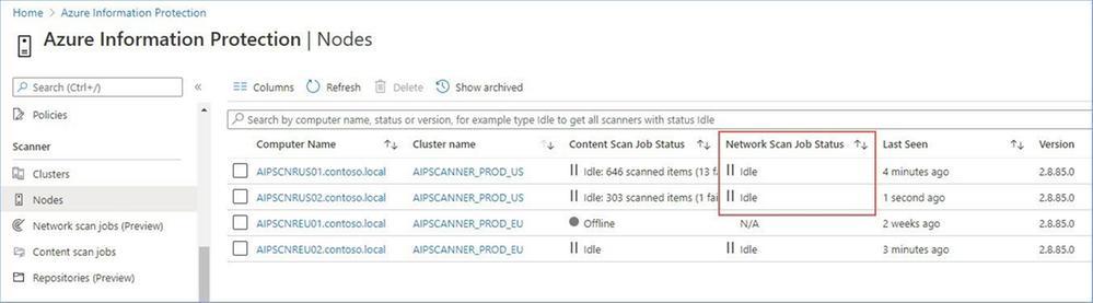Figure 17: Scanner nodes dashboard showing assigned network scan jobs.