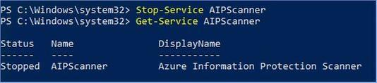 Figure 28: PowerShell commands to stop and verify the status of the AIP scanner service.