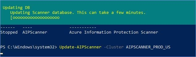 Figure 29: PowerShell command to update the AIP scanner.