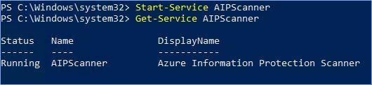 Figure 30: PowerShell commands to start and verify the status of the AIP scanner service.