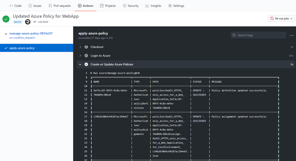 Screenshot of the Manage Azure Policy action within GitHub