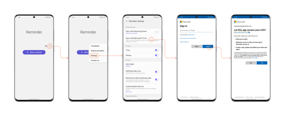 Steps to start syncing with Samsung Reminder app