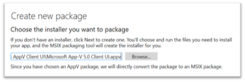 Create new MSIX package