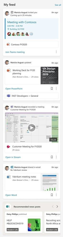 Make your site more dynamic by adding the My feed web part to show a mix of content from across Microsoft 365: videos, documents, meetings, chats, news and more.