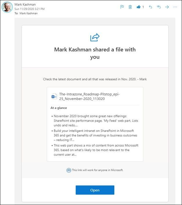 A meta-moment for the SharePoint Roadmap Pitstop – this sharing email summarizes this blog post draft for November 2020 shared as a link via Microsoft Word.