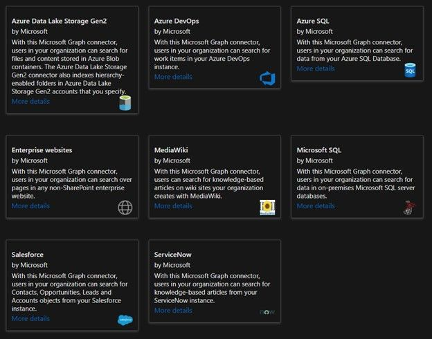 Microsoft Graph connectors help your organization index third-party data to appear in Microsoft Search results.