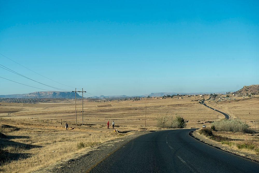Although Lesotho is a relatively small country, there are often great distances between villages and cities. Photo by Eric Bond/EGPAF
