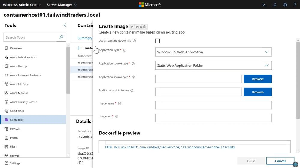 Create a new Docker Container Image using Windows Admin Center