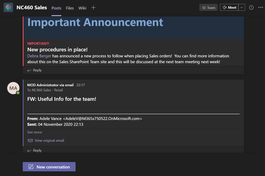 Figure 24 – The email is now posted to the Teams channel