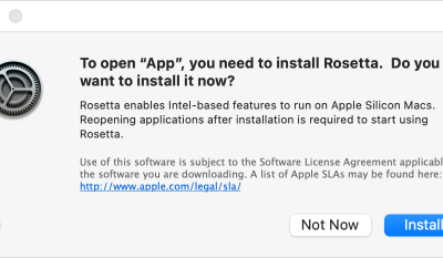 Support Tip: Install Rosetta 2 on new Apple Silicon (M1) Macs to run apps built for Intel Macs