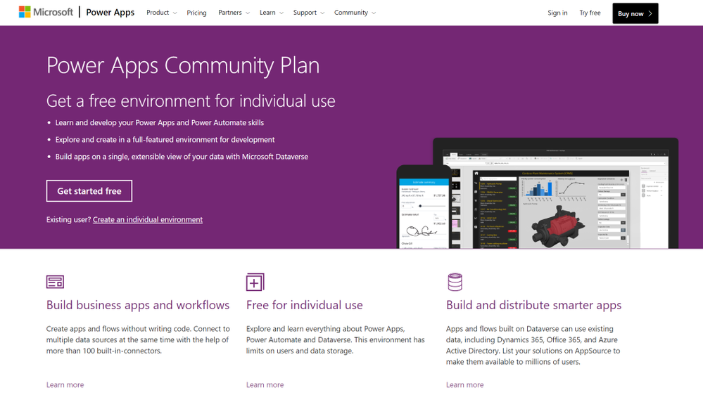 The overview page of the Power Apps Community Plan