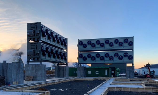 "Under construction: Climeworks' new large-scale direct air capture and storage plant, ""Orca."" (Credit: Climeworks)"
