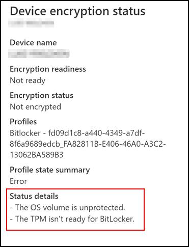 Scenario 3 - Device encryption status