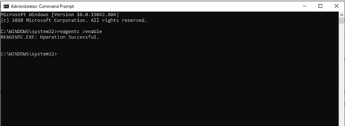 Enabling WinRE in Command Prompt