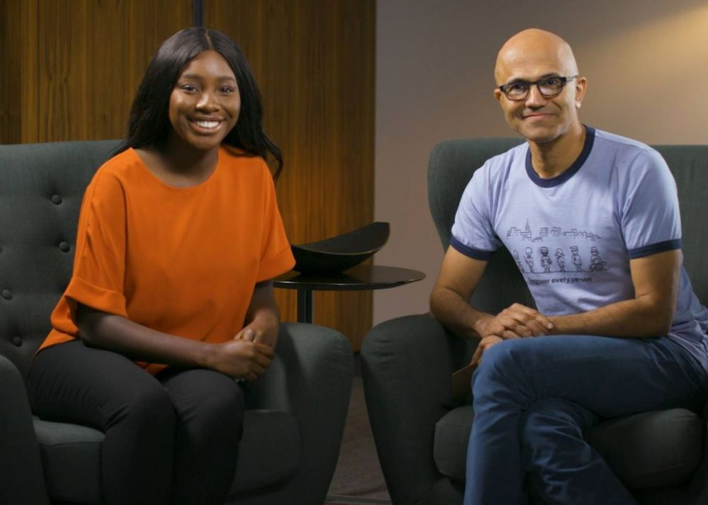 Amara Anigbo interviewing Microsoft CEO Satya Nadella in her undergrad days