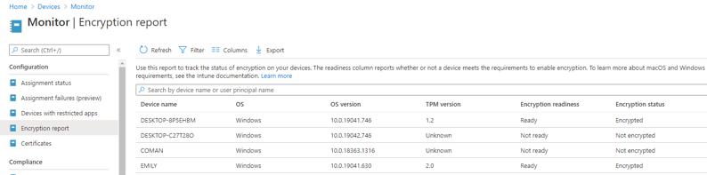 BitLocker Encryption Report in the MEM admin console