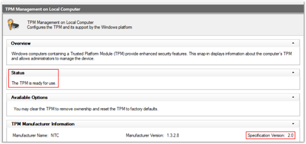 Example screenshot of a healthy TPM 2.0 status in the Trusted Platform Module console