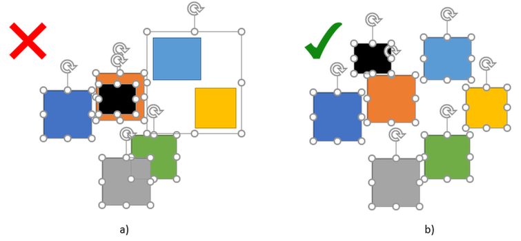 Example 2a: Elements overlap and there is a group shape; b) there are no overlaps or group shapes