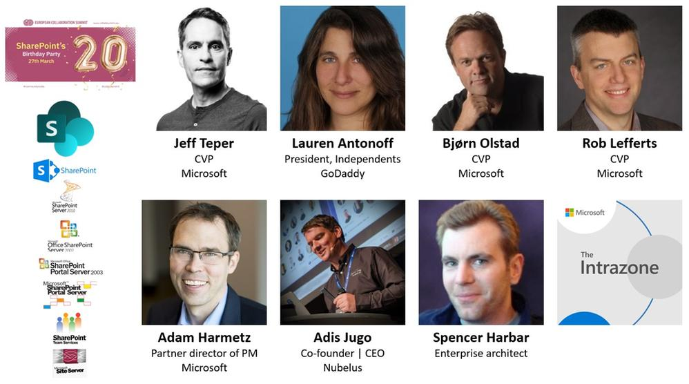 Intrazone guests – clockwise, starting top left – first row: Jeff Teper (CVP | Microsoft), Lauren Antonoff (President, independents | GoDaddy), Bjørn Olstad (CVP | Microsoft), Rob Lefferts (CVP | Microsoft) – bottom row: Adam Harmetz (Partner director of program management | Microsoft), Adis Jugo (Co-founder and CEO | Nubelus), and Spencer Harbar (Enterprise architect).