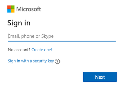 A sign-in window for a Microsoft service