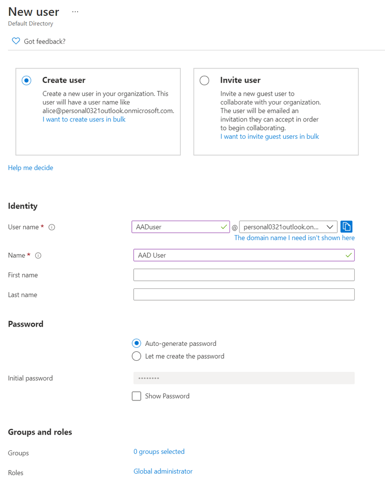 Creating a new Azure user as a global administrator