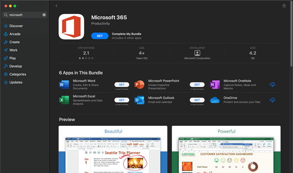 Microsoft 365 app suite in the macOS App Store