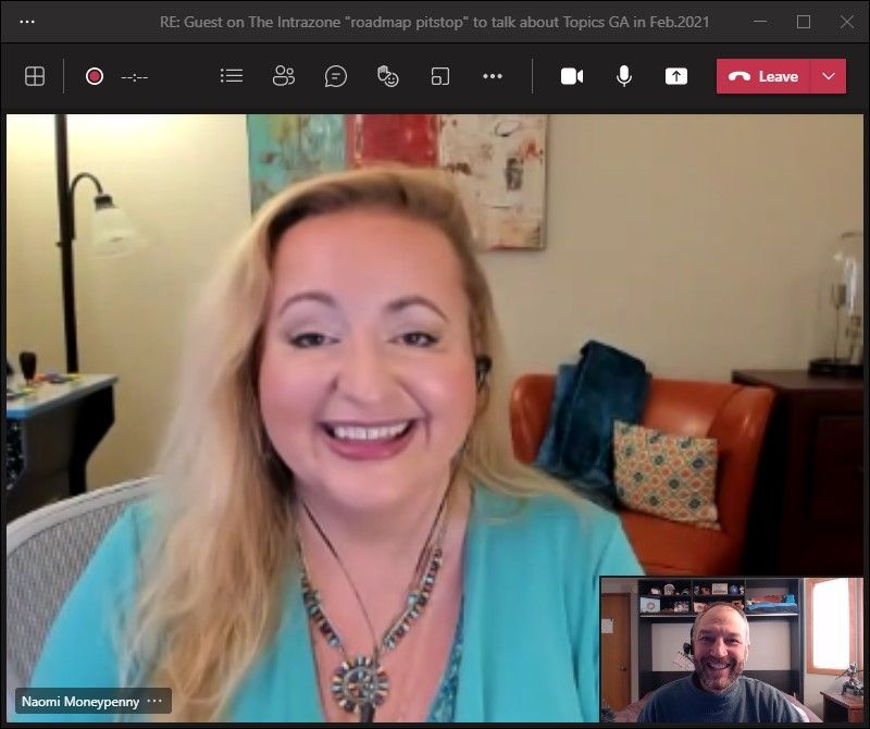 Naomi Moneypenny, principal PM manager at Microsoft (Microsoft) [Intrazone guest], with Mark Kashman on a Teams interview call [host]