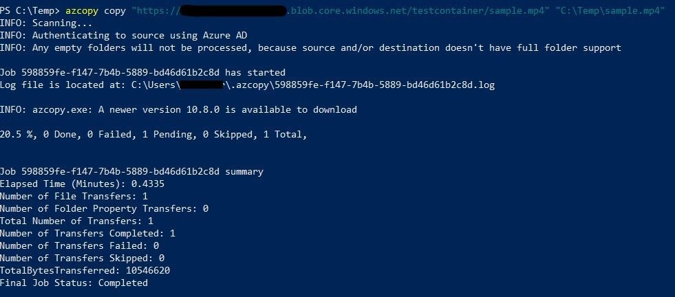 Download blob with AzCopy