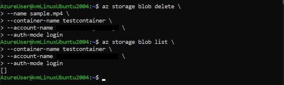 Delete blob with Azure CLI