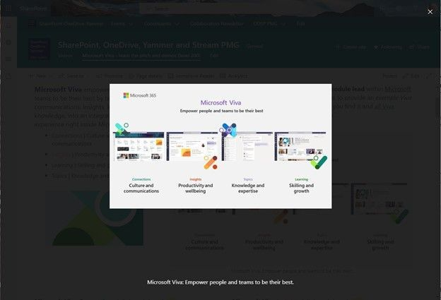 Click on an image from a SharePoint page to get a clearer, focused view of it. The rest of the page will darken, and any image captions will appear below the image.