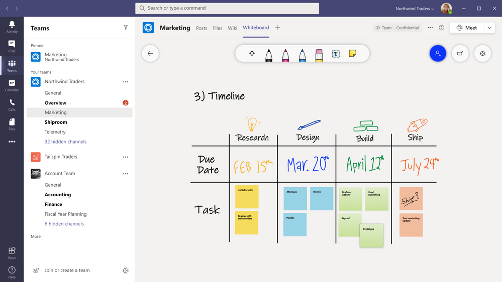 Microsoft Whiteboard in Microsoft Teams channels and chat
