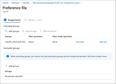 Microsoft AutoUpdate PLIST for InsideFast users - Assignment settings